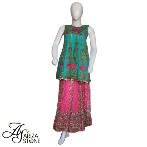 Buy Ariza Stone Kids Traditional Sharaara Dress AZS-009 On Installments