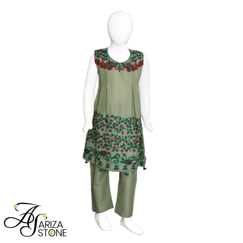Buy Ariza Stone Kids Pleated A line Dress Fully Embroidered Neckline On Installments