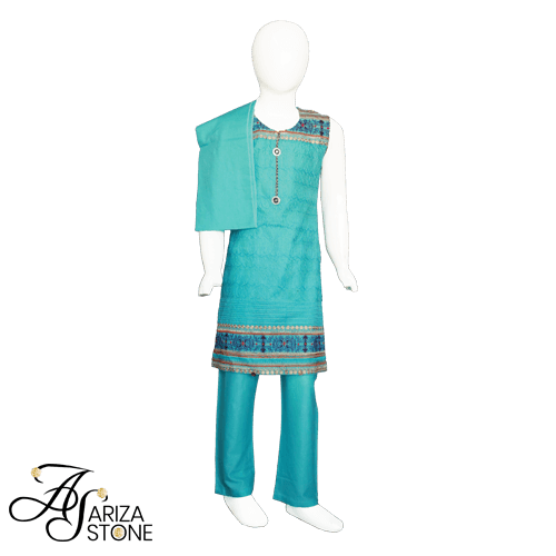 Buy Ariza Stone Kids Straight shirt dress Fully embroidered neckline On Installments