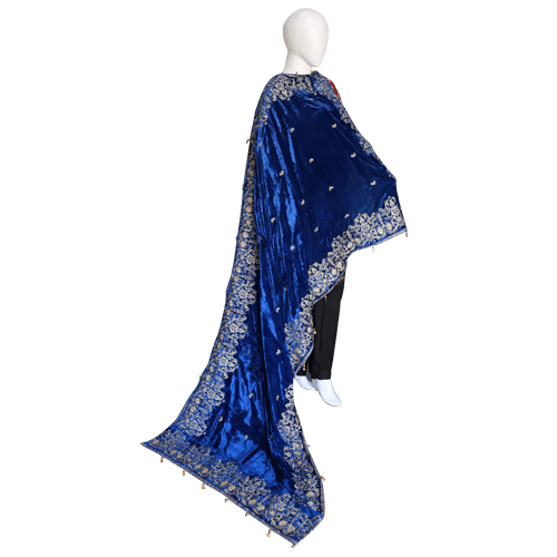 Buy Ariza Stone Royal Blue Velvet Embroidered Shawl On Installments