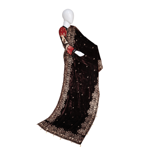 Buy Ariza Stone Brown Velvet Embroidered Shawl On Installments