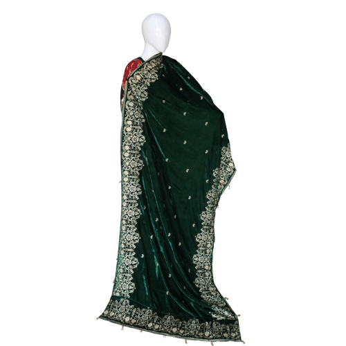 Buy Ariza Stone Emerald Green Velvet Embroidered Shawl On Installments