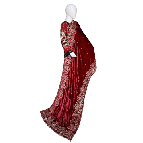 Buy Ariza Stone Maroon Velvet Embroidered Shawl On Installments