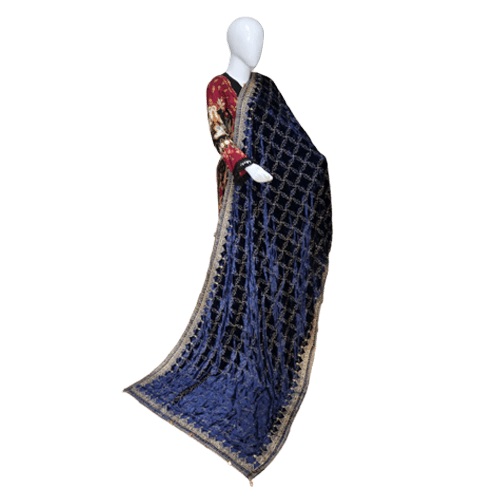 Buy Ariza Stone Dark Blue Velvet Embroidered Shawl On Installments