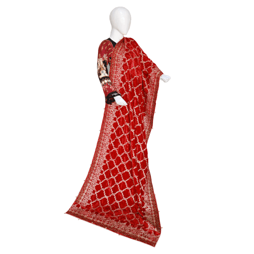 Buy Ariza Stone Orange Red Velvet Fully Embroidered Shawl On Installments