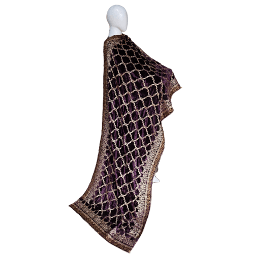 Buy Ariza Stone Plum Velvet Fully Embroidered Shawl On Installments