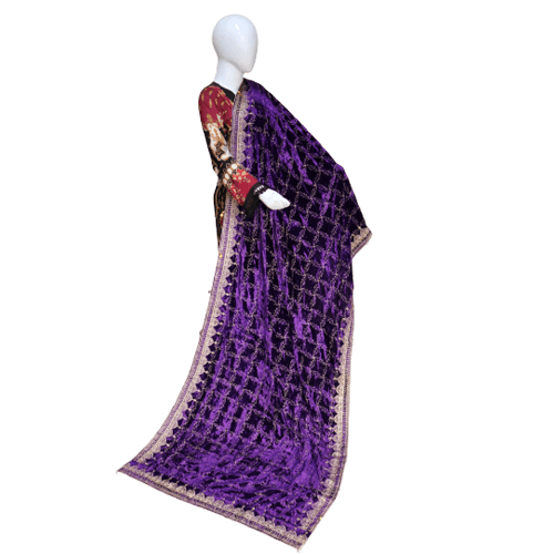 Buy Ariza Stone Purple Velvet Embroidered Shawl On Installments