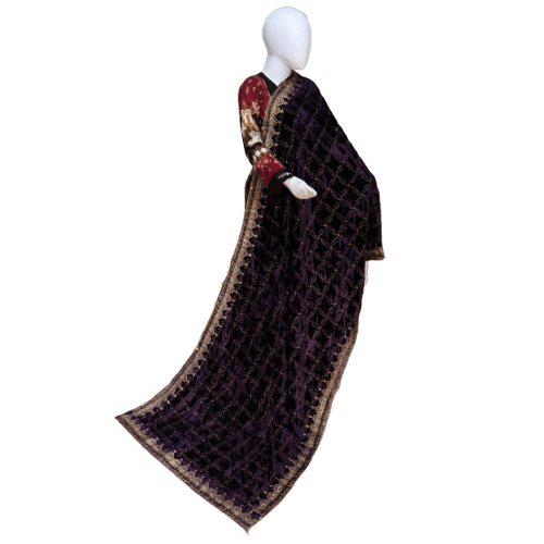 Buy Ariza Stone Plum Velvet Embroidered Shawl On Installments
