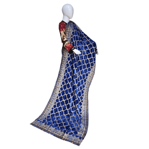 Buy Ariza Stone Royal Blue Velve Fully Embroidered Shawl On Installments