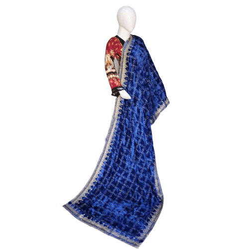 Buy Ariza Stone Royal Blue Velve Embroidered Work Shawl On Installments