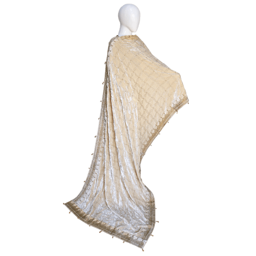 Buy Ariza Stone Off White Velvet Fully Embroidered Shawl  On Installments