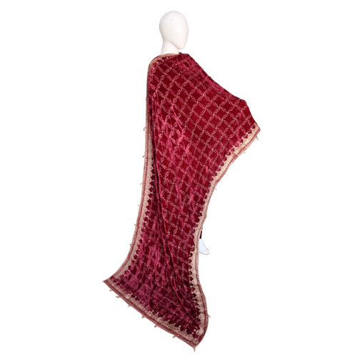 Buy Ariza Stone Red Velvet Fully Embroidered Shawl On Installments