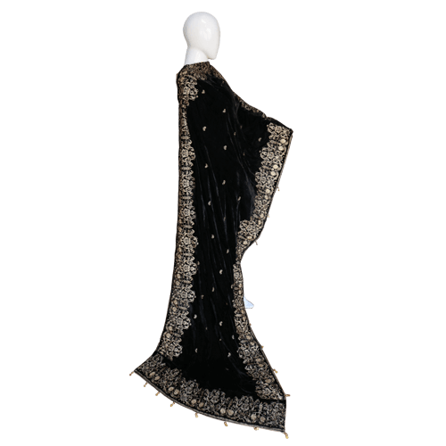 Buy Ariza Stone Black Velvet Embroidered Shawl On Installments