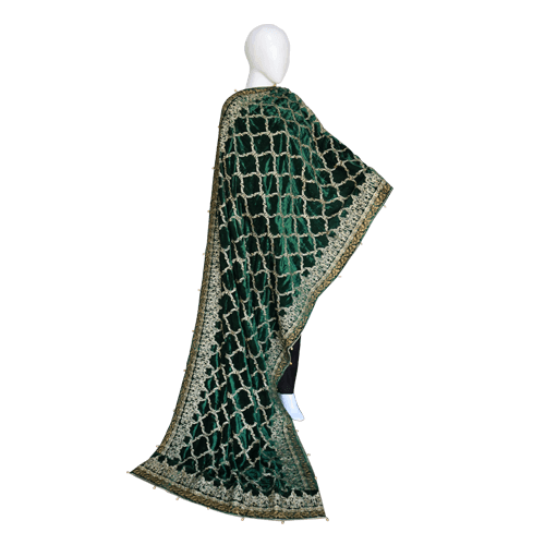 Buy Ariza Stone Emerald Green Velvet Fully Embroidered Shawl On Installments